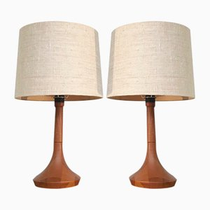 Wood Table Lamps, 1980s, Set of 2