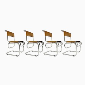 Vintage Tubular Steel & Cognac Leather Cantilever Chairs, Set of 4