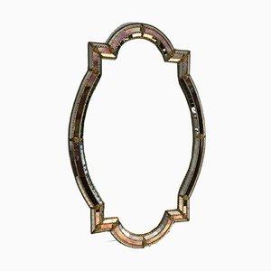 Französischer Vintage Spiegel mit facettiertem Rahmen, 1970er