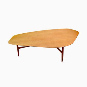 Swedish Kidney-Shaped Teak Coffee Table by Svante Skogh, 1953