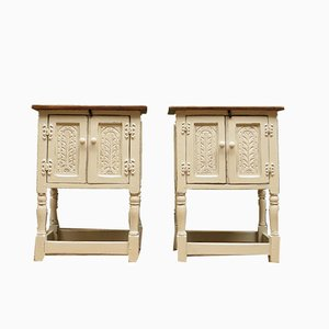 Vintage White Bedside Cabinets, Set of 2