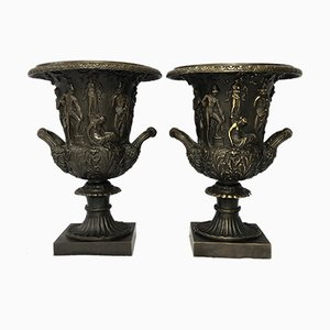 Antique French Bronze Neoclassical Grecian Zeus Champagne Urn Vases, Set of 2