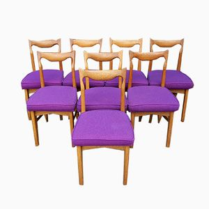 Vintage Oak Chairs by Guillerme and Chambron for Votre Maison, Set of 8