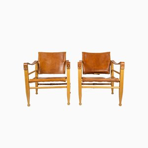 Cognac Leather & Beech Safari Chairs by Aage Bruun, 1960s, Set of 2