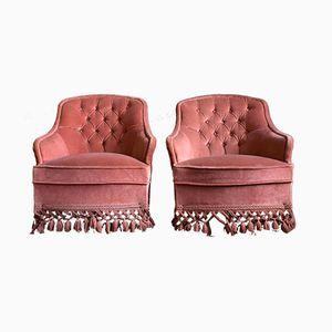 Dusky Pink Velvet Tub Chairs, 1950s, Set of 2
