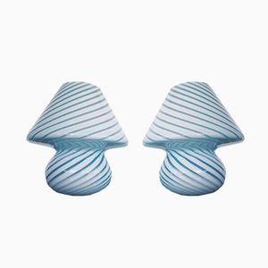 Blaue Tischlampen aus Muranoglas von Paolo Venini, 1970er, 2er Set