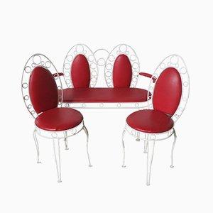 Juego de banco y dos sillas vintage de metal