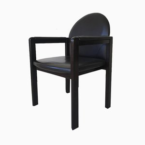 Black Leather and Wood Armchair from Bulo, 1980s