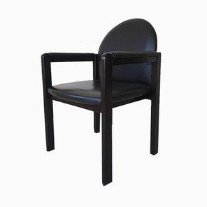 Schwarzer Armlehnstuhl aus Leder & Holz von Bulo, 1980er