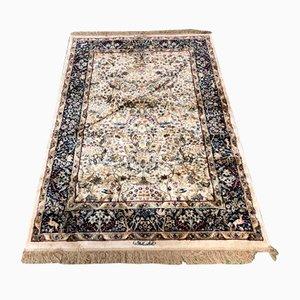 Tappeto vintage fatto a mano in lana e seta