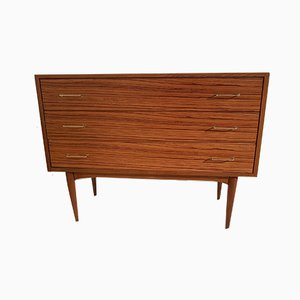Vintage Zebrano Dresser with Golden Brass Handles, 1950s