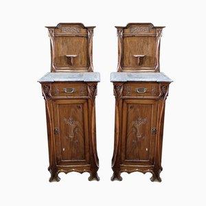 Antique Walnut Nightstands, Set of 2
