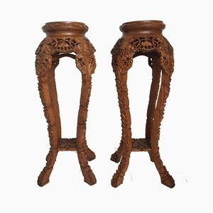 Large Mid-Century Brown Hand Carved Plant Stands, Set of 2