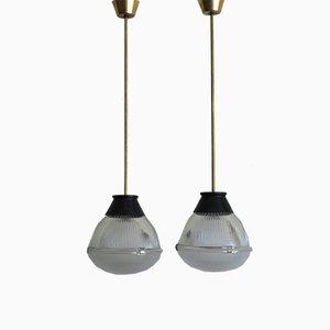 Lámparas de araña de vidrio de Tito Agnoli para Oluce, 1958. Juego de 2