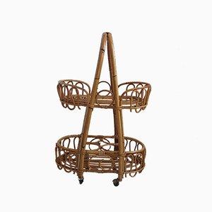 Carrito de servicio pequeño de bambú y ratán, años 50