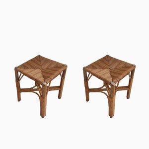 Taburetes de bambú y sisal, años 60. Juego de 2