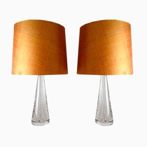 Lampes de Bureau Mid-Century en Verre de Cristal par Vicke Lindstrand pour Kosta, Set de 2