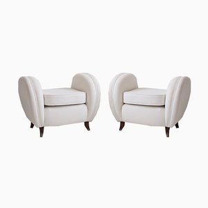 White Ottomans by Vittorio Valabrega, 1930s, Set of 2