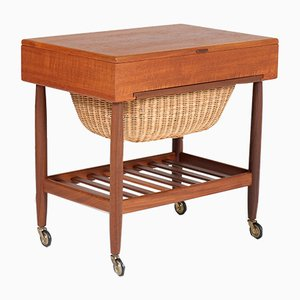 Mid-Century Teak Sewing Trolley by Ejvind Johannson for FDB Mobler, 1960s