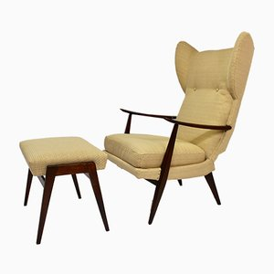 Vintage Wing Chair & Ottoman Set by Walter Knoll for Antimott