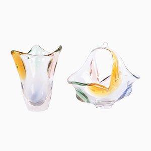 Bol et Vase Art en Verre Artisanal par Frantisek Zemek pour Mstisov, 1950s