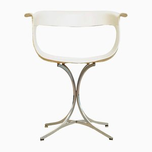 Mid-Century White Lotus Arm Chair from Laverne, 1950s