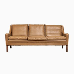 Vintage Mid-Century Danish Brown Leather Sofa