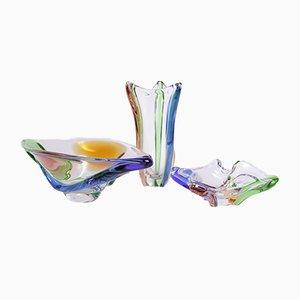 Vaso in vetro artistico con due scodelle di Frantisek Zemek per Mstisov, anni '50