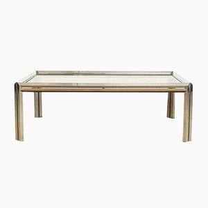 Vintage Chrome, Brass & Glass Coffee Table