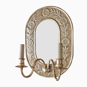 Vintage Silver Plated Wall Sconce and Mirror, 1960s