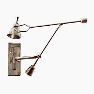 Lámpara de pared plateada de Edouard-Wilfrid Buquet, años 80