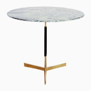 Green Marble & Brass Side Table, 1960s