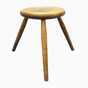 Antique Oak Tripod Stool, 1900s