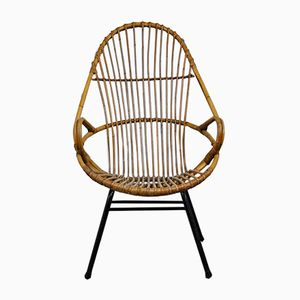 Rattan Lounge Chair by Rohe Noordwolde, 1960s