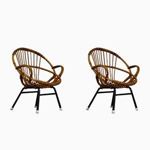 Kinderstühle aus Rattan von Rohe Noordwolde, 1960er, 2er Set