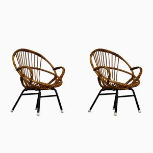 Rattan Children's Chairs by Rohe Noordwolde, 1960s, Set of 2