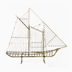 Large American Decorative Sail Boat Sculpture by Curtis Jere, 1976