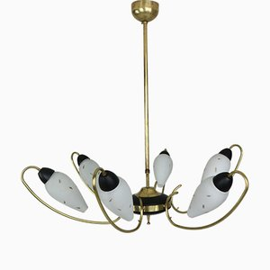 French Brass and Black Enamel Chandelier with Opal Glass, 1950s