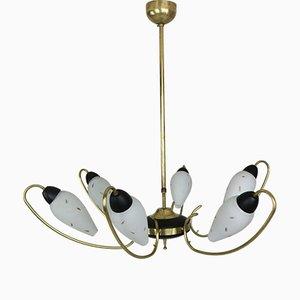 Lámpara de araña francesa de latón y esmalte negro con pantallas de vidrio opalino, años 50