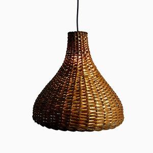 Lámpara colgante de mimbre, años 60