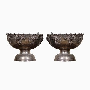 Large Ecclesiastical Metal Urns, 1920s, Set of 2