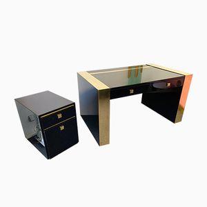 Französischer Schreibtisch und Regalfach aus lackiertem Messing von Jean Claude Mahey, 1970er