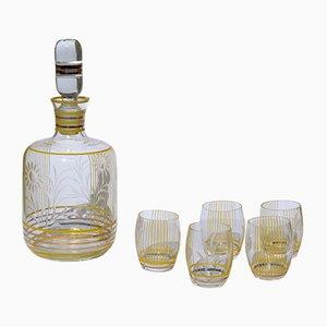Italienische Mid-Century Kristallglasflasche & 5 Gläser, 1950er