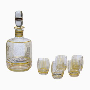 Juego de botella y cinco vasos italiano Mid-Century de cristal, años 50