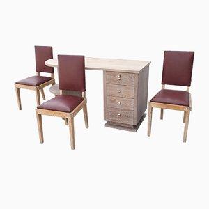 Juego de escritorio y tres sillas Art Déco de roble Ceruse de Jacques Adnet, años 40