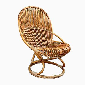 Mid-Century Italian Tre Cerchi Wicker Chair by Tito Agnoli for Pieratonio Bonacina, 1960s