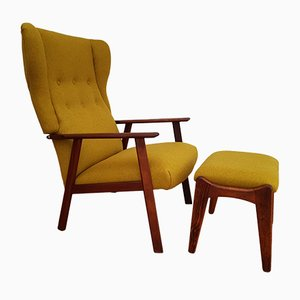 Danish High-Back Teak & Wool Armchair with Footstool, 1970s
