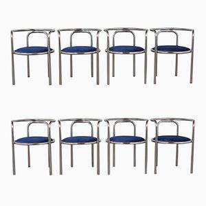 Vintage Chrome Barrel Back Chrome Dining Chairs, Set of 8