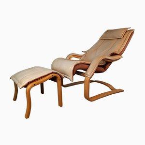 Poltrona reclinabile in pelle con poggiapiedi di Rybo, anni '80
