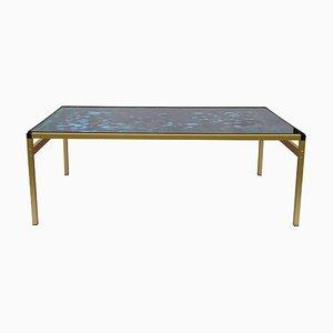 Tavolino da caffè minimalista vintage in vetro dipinto anni '80